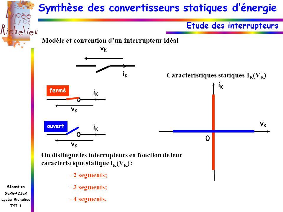 Synthèse des convertisseurs statiques dénergie Sébastien GERGADIER Lycée Richelieu TSI 1 Etude des interrupteurs iKiK vKvK fermé vKvK iKiK ouvert vKvK