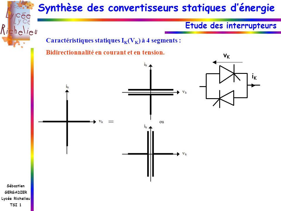 Synthèse des convertisseurs statiques dénergie Sébastien GERGADIER Lycée Richelieu TSI 1 Etude des interrupteurs Caractéristiques statiques I K (V K )