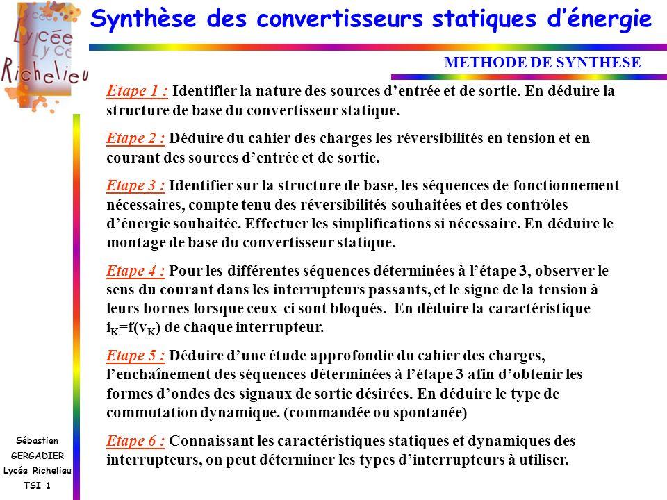 Synthèse des convertisseurs statiques dénergie Sébastien GERGADIER Lycée Richelieu TSI 1 METHODE DE SYNTHESE Etape 1 : Identifier la nature des source