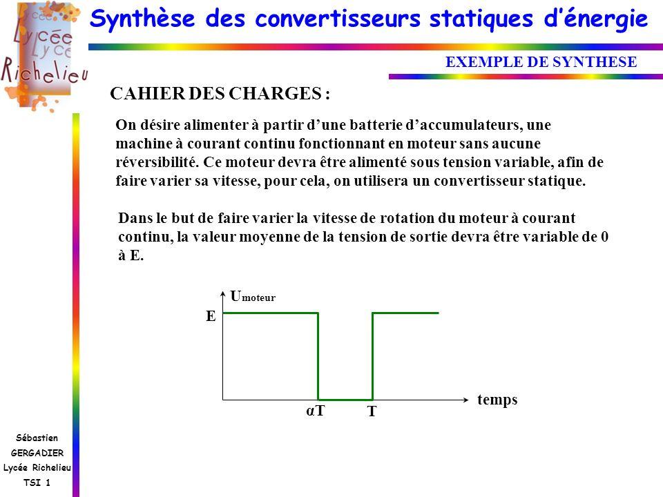 Synthèse des convertisseurs statiques dénergie Sébastien GERGADIER Lycée Richelieu TSI 1 EXEMPLE DE SYNTHESE CAHIER DES CHARGES : On désire alimenter