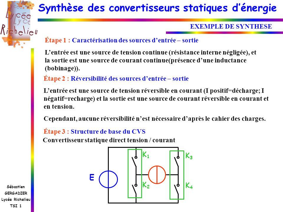 Synthèse des convertisseurs statiques dénergie Sébastien GERGADIER Lycée Richelieu TSI 1 EXEMPLE DE SYNTHESE Étape 3 : Structure de base du CVS E K1K2