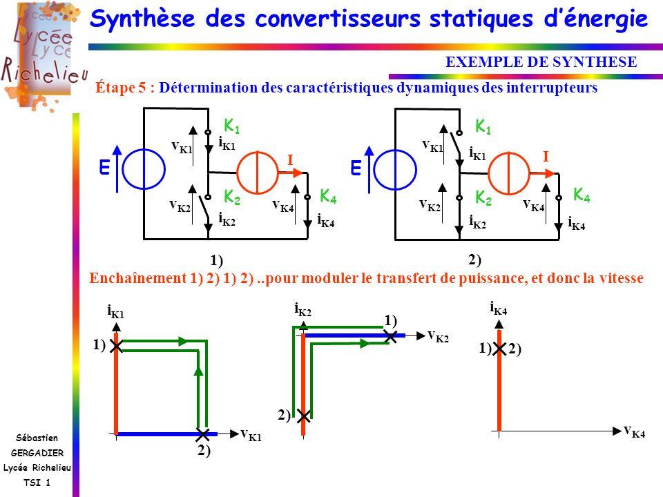 Synthèse des convertisseurs statiques dénergie Sébastien GERGADIER Lycée Richelieu TSI 1 EXEMPLE DE SYNTHESE Étape 5 : Détermination des caractéristiq