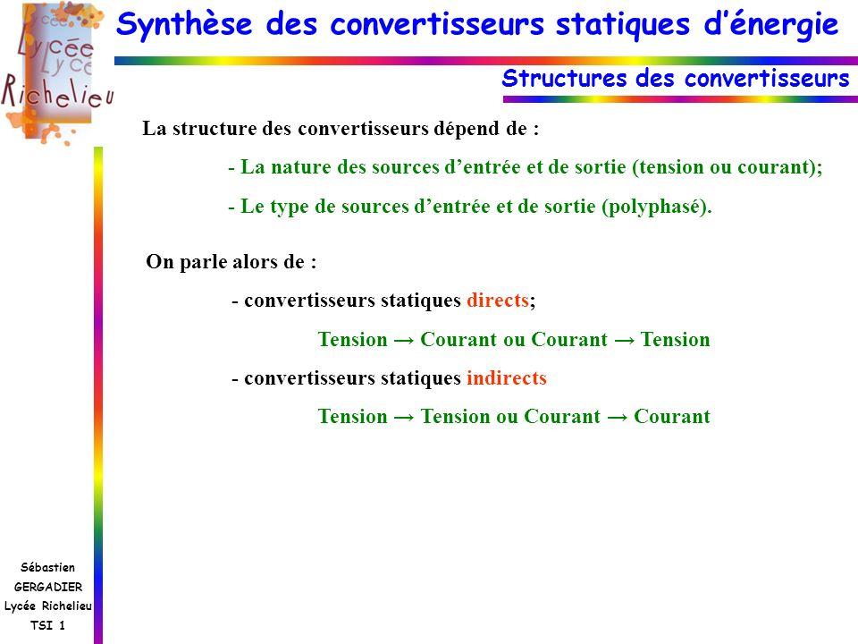 Synthèse des convertisseurs statiques dénergie Sébastien GERGADIER Lycée Richelieu TSI 1 Structures des convertisseurs La structure des convertisseurs