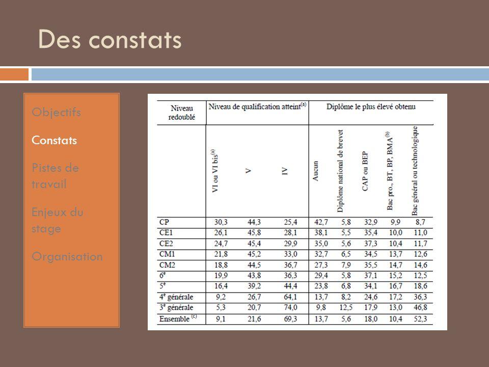 Des constats Objectifs Constats Pistes de travail Enjeux du stage Organisation