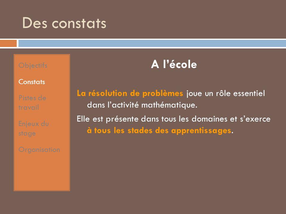 Des constats A lécole La résolution de problèmes joue un rôle essentiel dans lactivité mathématique.