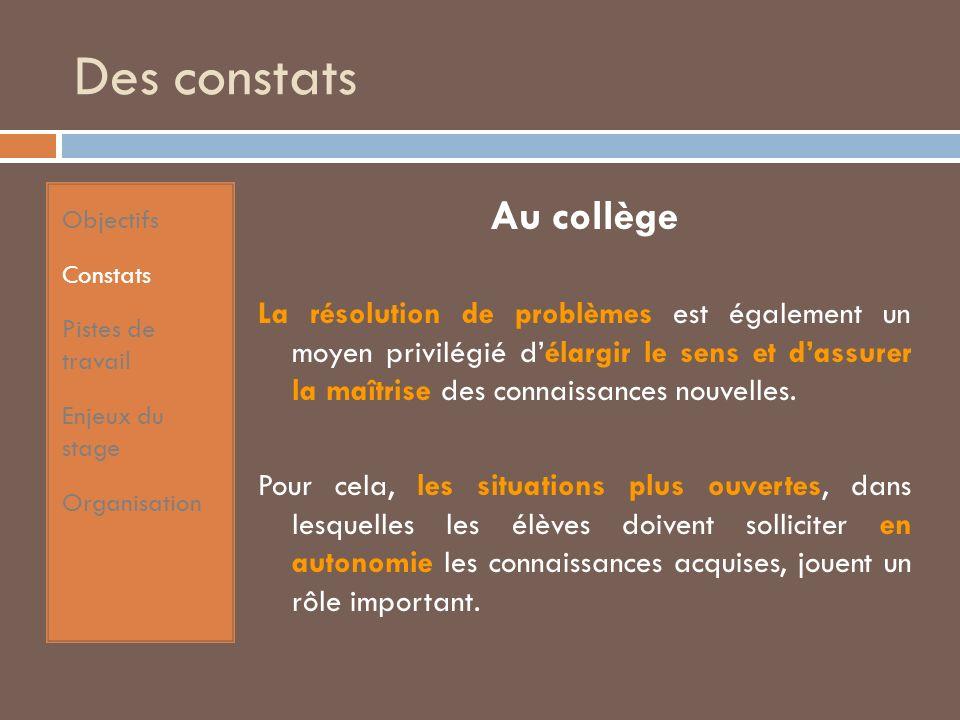 Des constats Au collège La résolution de problèmes est également un moyen privilégié délargir le sens et dassurer la maîtrise des connaissances nouvelles.