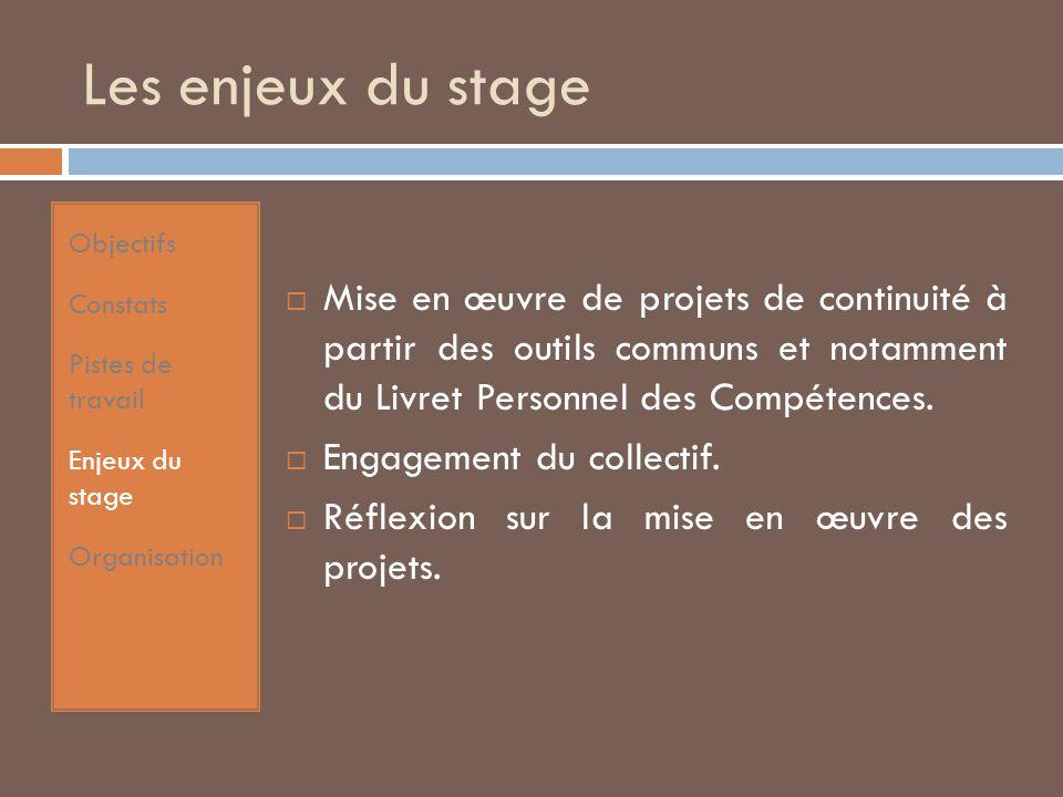 Les enjeux du stage Mise en œuvre de projets de continuité à partir des outils communs et notamment du Livret Personnel des Compétences.