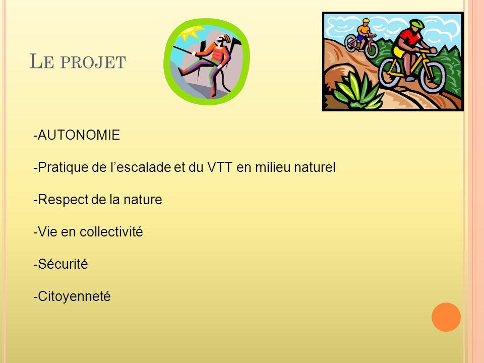 L E PROJET -AUTONOMIE -Pratique de lescalade et du VTT en milieu naturel -Respect de la nature -Vie en collectivité -Sécurité -Citoyenneté