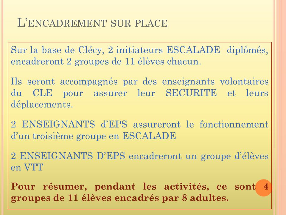 L ENCADREMENT SUR PLACE Sur la base de Clécy, 2 initiateurs ESCALADE diplômés, encadreront 2 groupes de 11 élèves chacun.