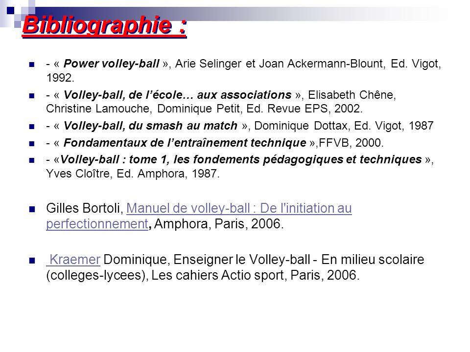 Bibliographie : - « Power volley-ball », Arie Selinger et Joan Ackermann-Blount, Ed. Vigot, 1992. - « Volley-ball, de lécole… aux associations », Elis