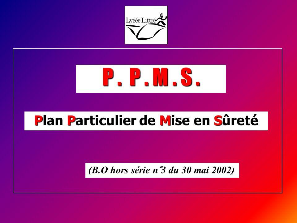 P. P. M. S. Plan Particulier de Mise en Sûreté (B.O hors série n°3 du 30 mai 2002)
