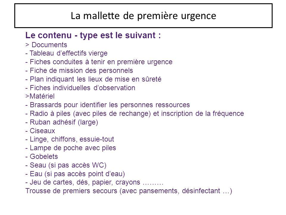 La mallette de première urgence Le contenu - type est le suivant : > Documents - Tableau deffectifs vierge - Fiches conduites à tenir en première urge
