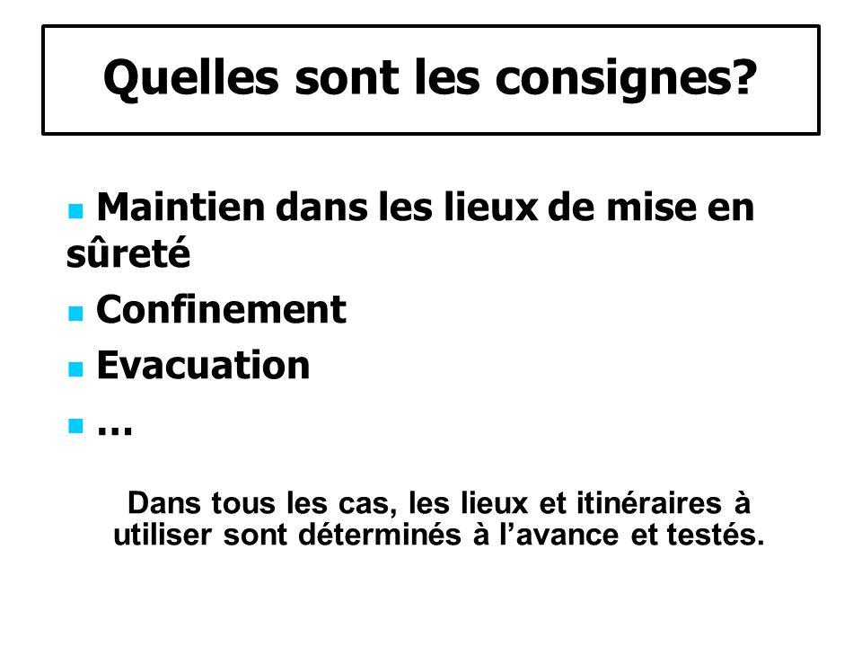 Quelles sont les consignes? Maintien dans les lieux de mise en sûreté Confinement Evacuation … Dans tous les cas, les lieux et itinéraires à utiliser