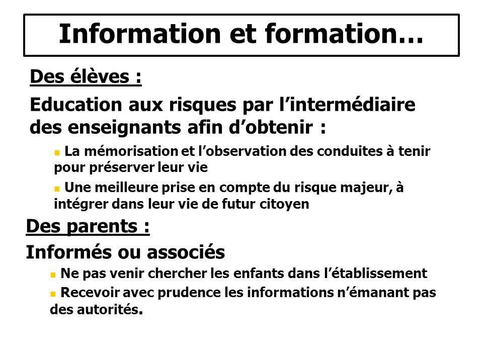 Information et formation… Des élèves : Education aux risques par lintermédiaire des enseignants afin dobtenir : La mémorisation et lobservation des co