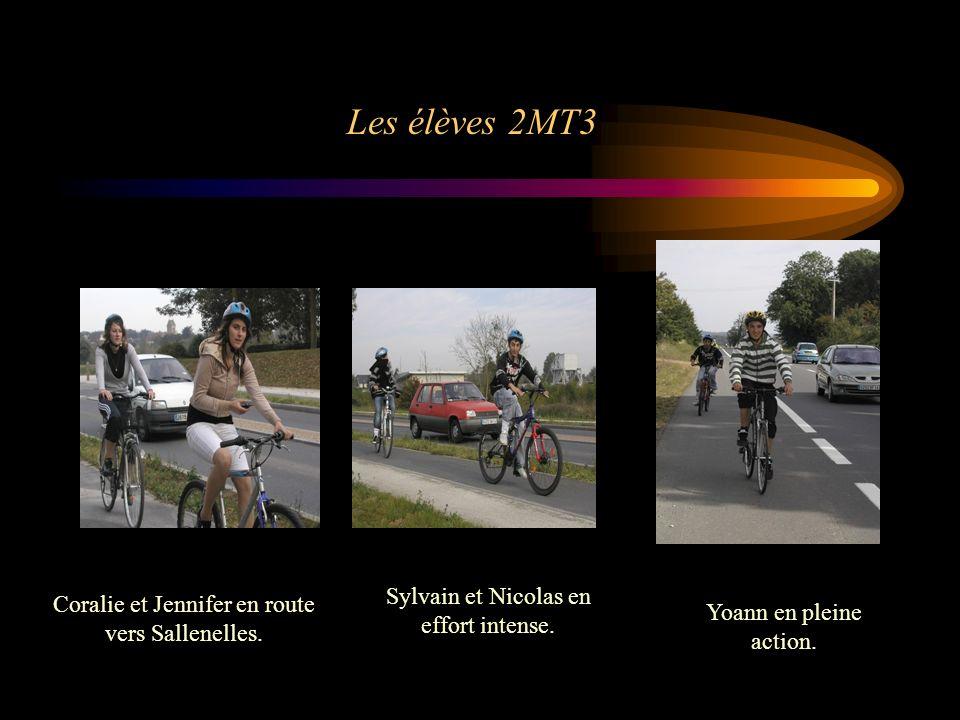 Les élèves 2MT3 Coralie et Jennifer en route vers Sallenelles. Sylvain et Nicolas en effort intense. Yoann en pleine action.