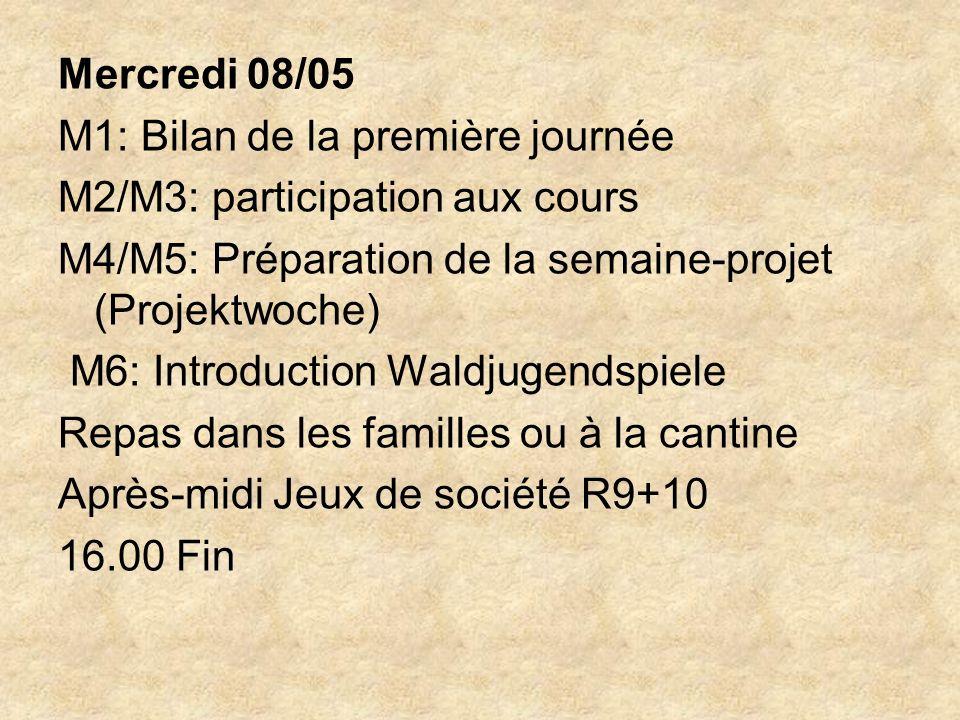 Mercredi 08/05 M1: Bilan de la première journée M2/M3: participation aux cours M4/M5: Préparation de la semaine-projet (Projektwoche) M6: Introduction Waldjugendspiele Repas dans les familles ou à la cantine Après-midi Jeux de société R9+10 16.00 Fin