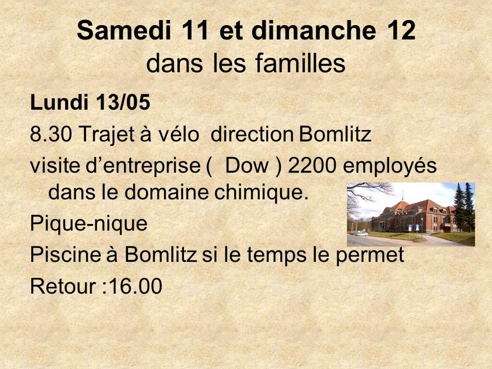 Samedi 11 et dimanche 12 dans les familles Lundi 13/05 8.30 Trajet à vélo direction Bomlitz visite dentreprise ( Dow ) 2200 employés dans le domaine chimique.