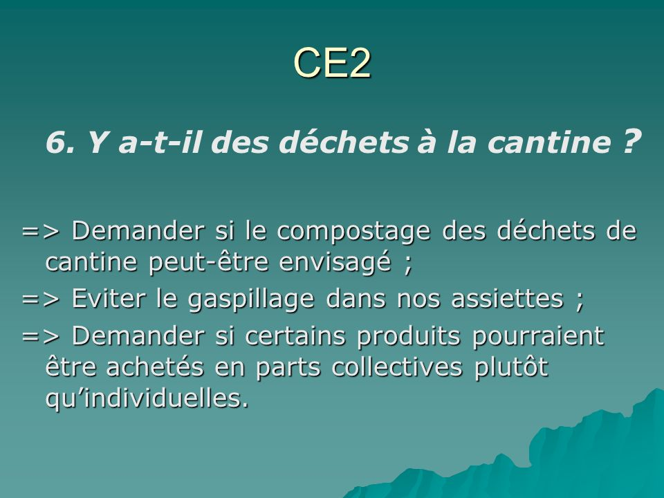 CE2 6. Y a-t-il des déchets à la cantine ? => Demander si le compostage des déchets de cantine peut-être envisagé ; => Eviter le gaspillage dans nos a