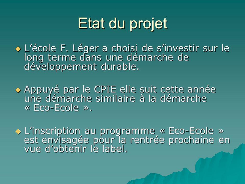 Etat du projet Lécole F. Léger a choisi de sinvestir sur le long terme dans une démarche de développement durable. Lécole F. Léger a choisi de sinvest
