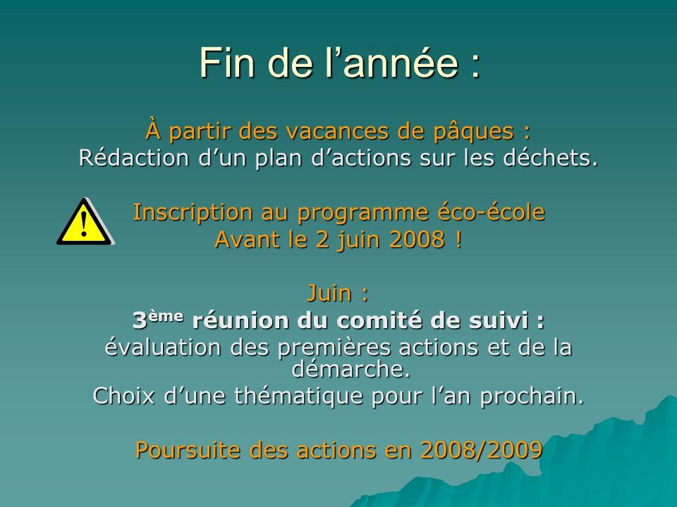 Fin de lannée : À partir des vacances de pâques : Rédaction dun plan dactions sur les déchets. Inscription au programme éco-école Avant le 2 juin 2008