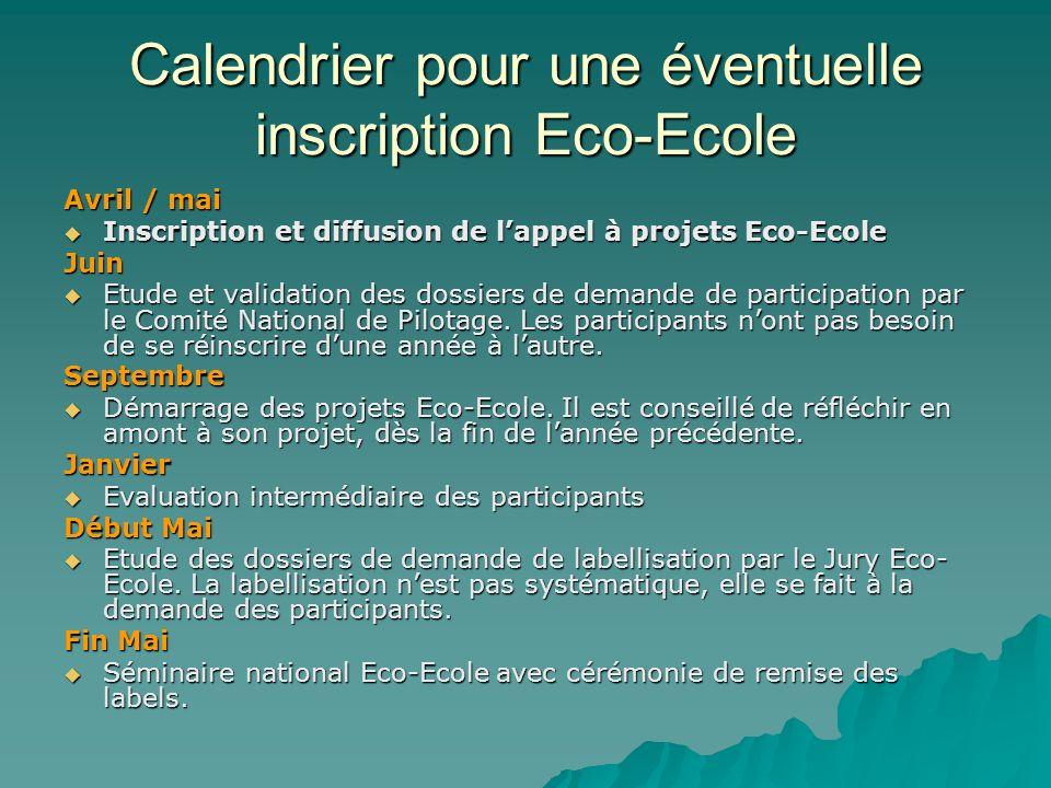 Calendrier pour une éventuelle inscription Eco-Ecole Avril / mai Inscription et diffusion de lappel à projets Eco-Ecole Inscription et diffusion de la