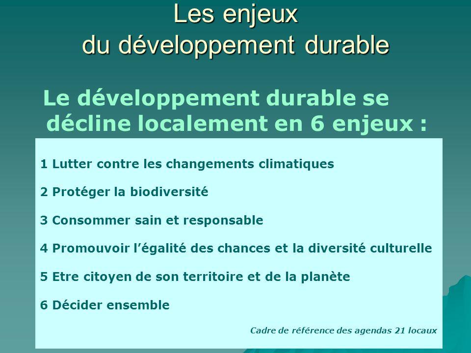 Les enjeux du développement durable Le développement durable se décline localement en 6 enjeux : 1 Lutter contre les changements climatiques 2 Protége