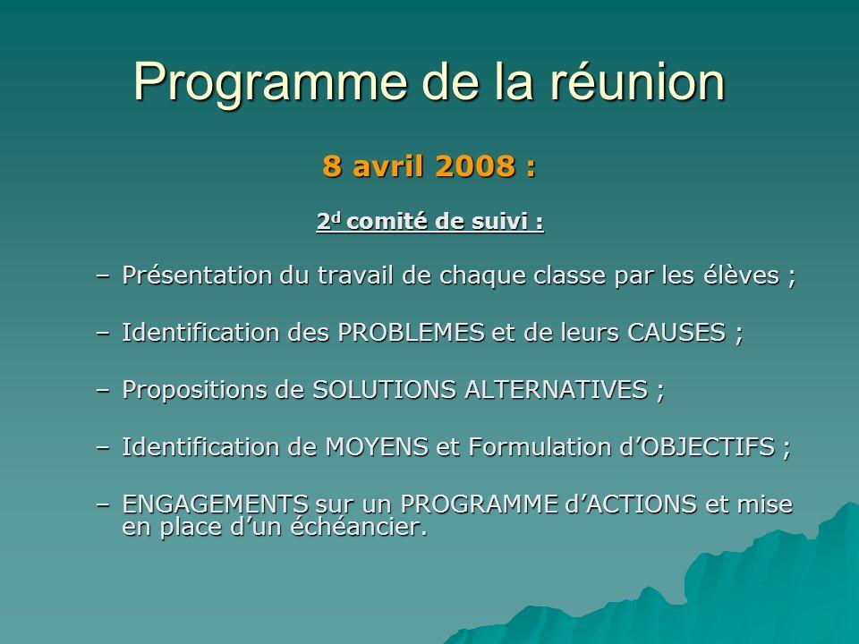 Programme de la réunion 8 avril 2008 : 2 d comité de suivi : –Présentation du travail de chaque classe par les élèves ; –Identification des PROBLEMES