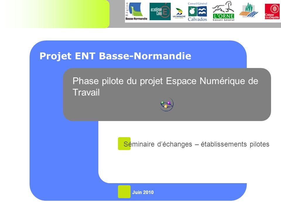Phase pilote du projet Espace Numérique de Travail Projet ENT Basse-Normandie Séminaire déchanges – établissements pilotes Juin 2010