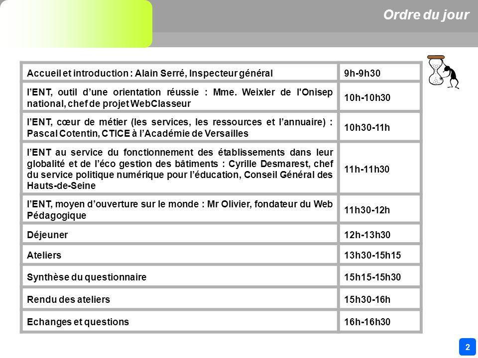 2 Ordre du jour Accueil et introduction : Alain Serré, Inspecteur général9h-9h30 lENT, outil dune orientation réussie : Mme.