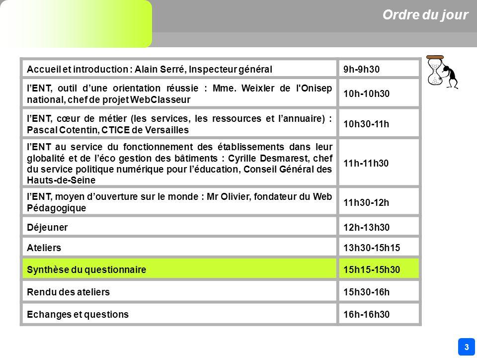 3 Ordre du jour Accueil et introduction : Alain Serré, Inspecteur général9h-9h30 lENT, outil dune orientation réussie : Mme.