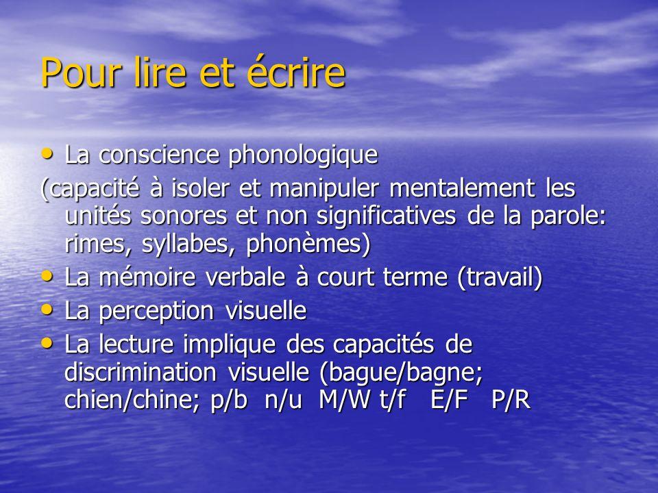 Pour lire et écrire La conscience phonologique La conscience phonologique (capacité à isoler et manipuler mentalement les unités sonores et non signif