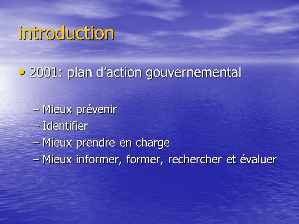 introduction 2001: plan daction gouvernemental 2001: plan daction gouvernemental –Mieux prévenir –Identifier –Mieux prendre en charge –Mieux informer,