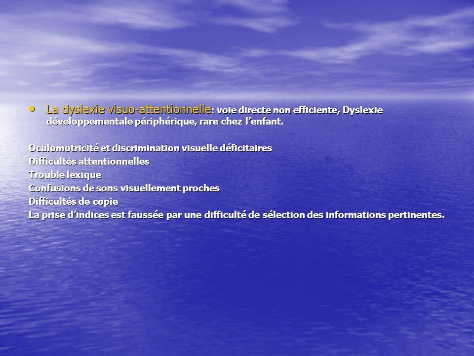 La dyslexie visuo-attentionnelle : voie directe non efficiente, Dyslexie développementale périphérique, rare chez lenfant. La dyslexie visuo-attention