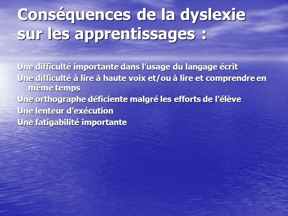 Conséquences de la dyslexie sur les apprentissages : Une difficulté importante dans lusage du langage écrit Une difficulté à lire à haute voix et/ou à