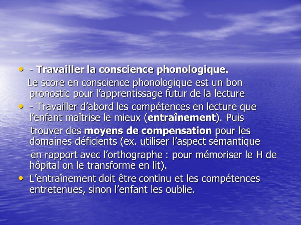 - Travailler la conscience phonologique. - Travailler la conscience phonologique. Le score en conscience phonologique est un bon pronostic pour lappre