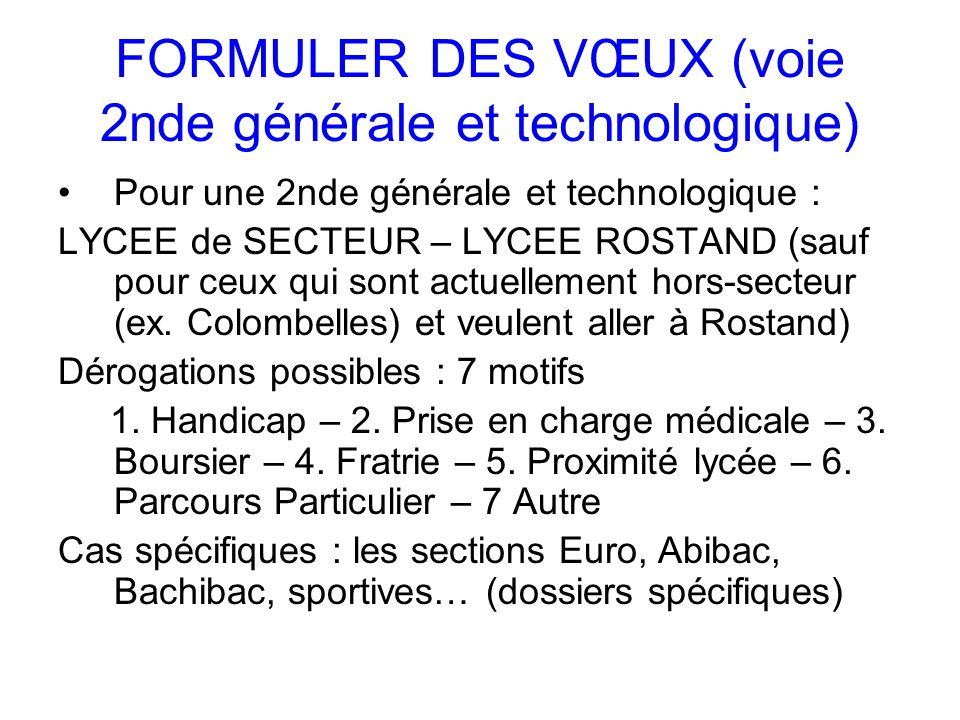 FORMULER DES VŒUX (voie 2nde générale et technologique) Pour une 2nde générale et technologique : LYCEE de SECTEUR – LYCEE ROSTAND (sauf pour ceux qui sont actuellement hors-secteur (ex.