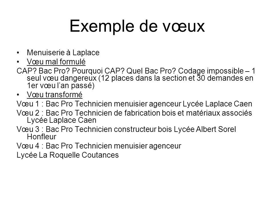 Exemple de vœux Menuiserie à Laplace Vœu mal formulé CAP.
