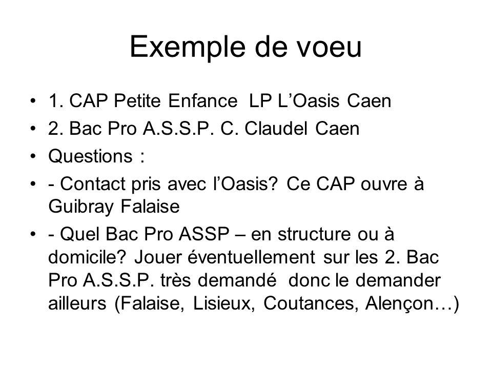 Exemple de voeu 1.CAP Petite Enfance LP LOasis Caen 2.