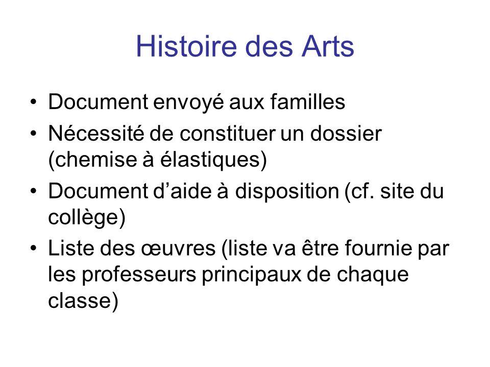 Histoire des Arts Document envoyé aux familles Nécessité de constituer un dossier (chemise à élastiques) Document daide à disposition (cf.