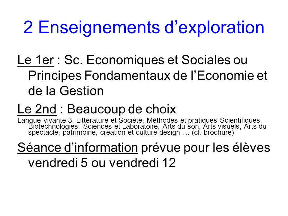 2 Enseignements dexploration Le 1er : Sc.