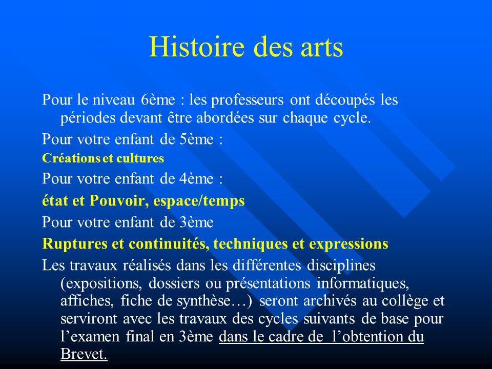 Histoire des arts Pour le niveau 6ème : les professeurs ont découpés les périodes devant être abordées sur chaque cycle. Pour votre enfant de 5ème : C