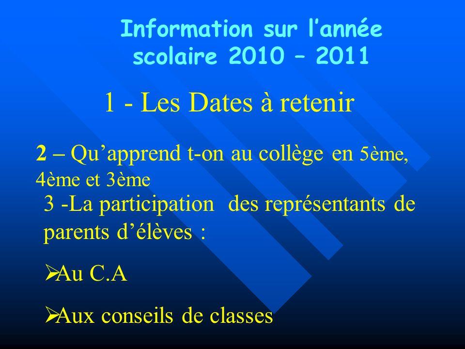 1 - Les Dates à retenir Information sur lannée scolaire 2010 – 2011 3 -La participation des représentants de parents délèves : Au C.A Aux conseils de