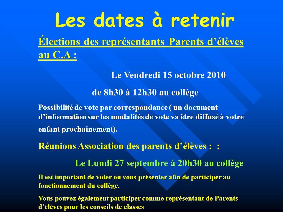 Les dates à retenir Élections des représentants Parents délèves au C.A : Le Vendredi 15 octobre 2010 de 8h30 à 12h30 au collège Possibilité de vote pa