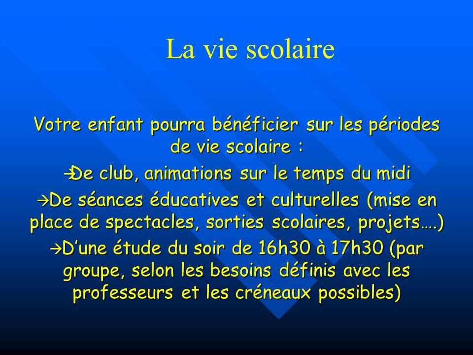 Votre enfant pourra bénéficier sur les périodes de vie scolaire : De club, animations sur le temps du midi De club, animations sur le temps du midi De