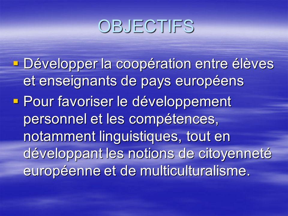 OBJECTIFS Développer la coopération entre élèves et enseignants de pays européens Développer la coopération entre élèves et enseignants de pays européens Pour favoriser le développement personnel et les compétences, notamment linguistiques, tout en développant les notions de citoyenneté européenne et de multiculturalisme.
