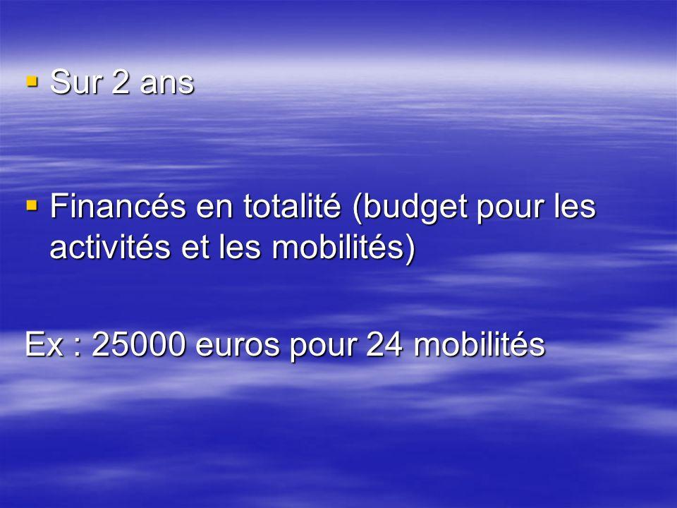 Sur 2 ans Sur 2 ans Financés en totalité (budget pour les activités et les mobilités) Financés en totalité (budget pour les activités et les mobilités) Ex : 25000 euros pour 24 mobilités