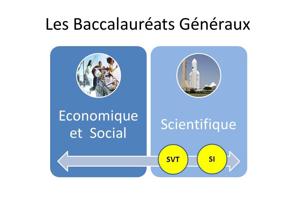 Les Baccalauréats Généraux Economique et Social Scientifique SVT SI