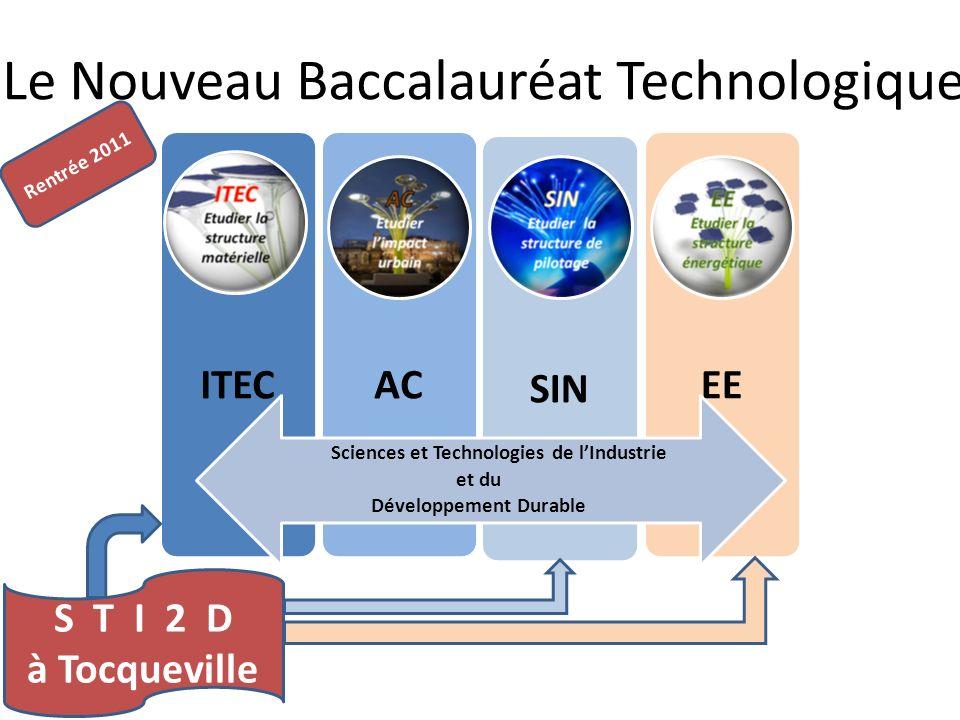 Le Nouveau Baccalauréat Technologique ITECACSINEE Sciences et Technologies de lIndustrie et du Développement Durable Rentrée 2011 S T I 2 D à Tocquevi