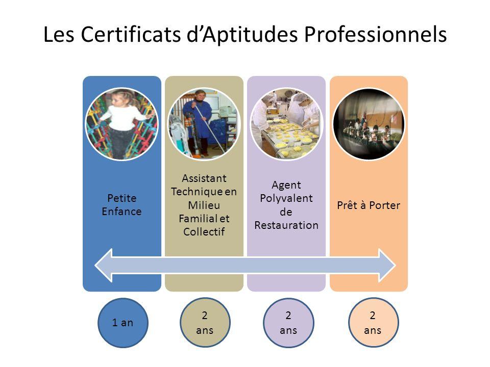 Les Certificats dAptitudes Professionnels Petite Enfance Assistant Technique en Milieu Familial et Collectif Agent Polyvalent de Restauration Prêt à P