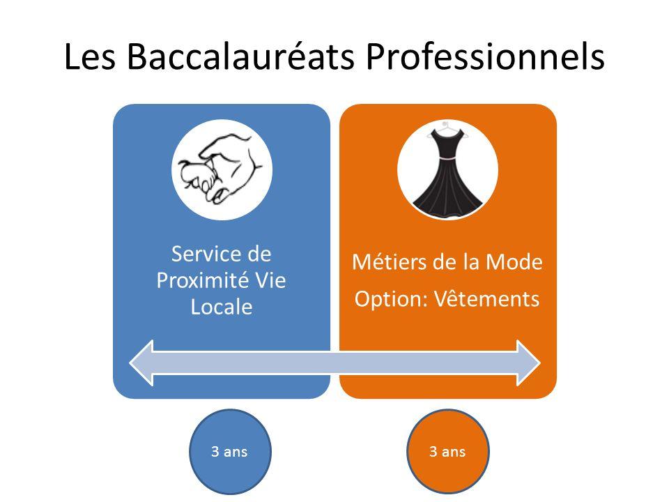 Service de Proximité Vie Locale Métiers de la Mode Option: Vêtements Les Baccalauréats Professionnels 3 ans